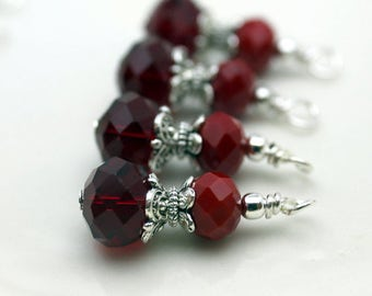 Red Crystal Dangle Vintage Style Earring Dangle Necklace Charm Set