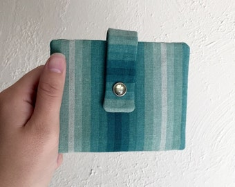 Variegated Green Stripe Wallet - Midsize Cash and Card Wallet with Change pouch