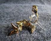 Little Mermaid Clear Glass Gold Trim Hand-Blown Glass Animal Figurine Mermaid Statue Collectible Miniatures Mermaid Glass Figurine Gifts