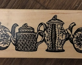 PSX Rare Wood Mounted Rubber Stamp Teapot Border