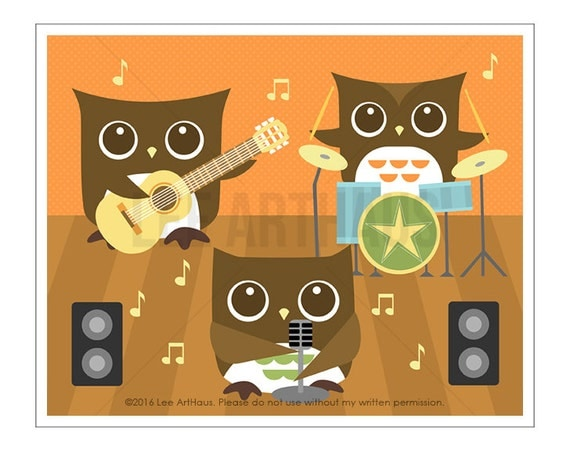 124A Owl Wall Art - Owl Band Wall Art - Owl Print - Woodland Owl Nursery Prints - Guitar Wall Art - Drums Print - Music Baby Room Wall Art
