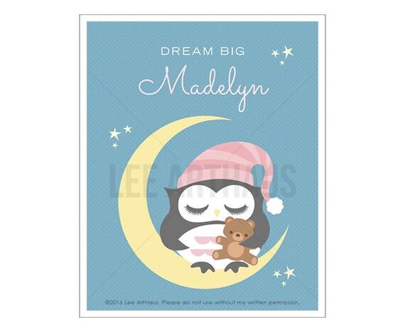 149P Owl Nursery Print - Dream Big Print - Personalized Girl Owl Sleeping on Moon Wall Art - Custom Baby Girl Nursery Art - Inspirational