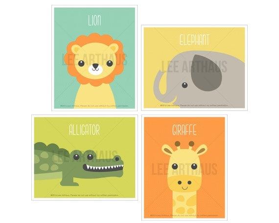 8S Animal Print - Nursery Animal Art Print Set - Set of 4 Prints - Giraffe Wall Art - Baby Elephant Print - Lion Wall Art - Alligator Print