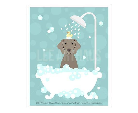 258D Dog Poster - Weimaraner in Bathtub Wall Art - Dog Bath Wall Art - Pet Portrait - Weimaraner Puppy Print - Dog Breed Prints - Dog Art