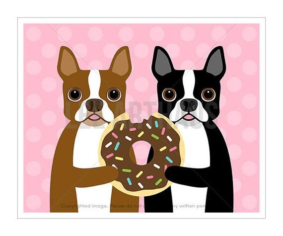 259D Dog Prints - Boston Terrier Dogs Sharing Big Donut Wall Art - Boston Terrier Print - Donut Decor - Dog Breed Print - Boston Terrier Art