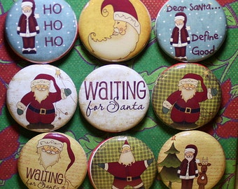 Waiting for Santa Magnets - One Inch - 9 Pieces - Stocking Stuffer