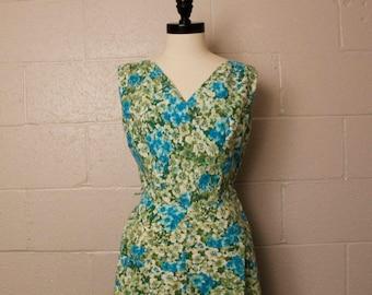 Vintage 1950's Mode O Day Green Blue Floral Cotton Dress 28 waist