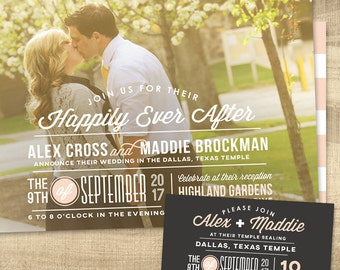 LDS wedding invitation, photo wedding invitation, custom wedding invitation, typography wedding invitation and insert - happily ever after