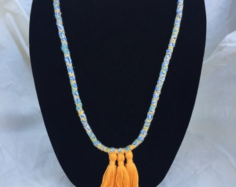 Fabric and tassel necklace upcycled
