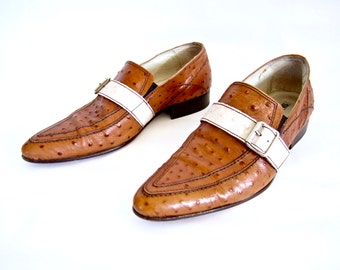 vintage 1980s KILLER caramel brown white leather two tone loafer CREEPERS mod mens 10 D dapper rock n roll classics ITALY winkle pickers