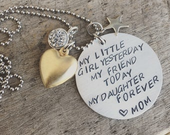 Hand Stamped Name Mixed Metal Necklace, Daughter Forever, Brass Heart and Sterling Silver Star Charm Necklace