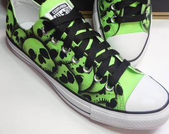 Skull shoes Converse All Stars US Men's size 9 Unisex US Women's size 11 Unique hand painted skulls by RokGear - SALE Ready to ship