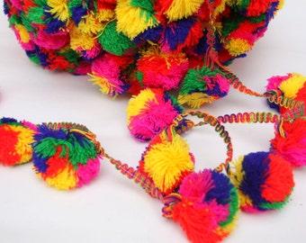 Extra Large Pompom Trim,Pom Pom Lace, 1 yard, Home Decor,Party Garland, Gypsy, Boho, 2 inch Pompoms, Rainbow Colors, Photo Props