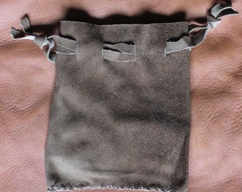 Brown deerskin suede leather drawstring pouch bag for tarot runes dice