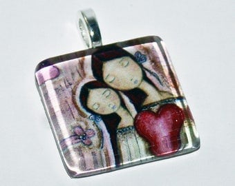 Un Solo Corazón - Mother Daughter Love  - Original Small Glass Tile Pendant  by FLOR LARIOS ART