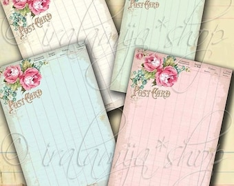 SALE SHABBY LEDGER Paper Collage Digital Images -printable download file-