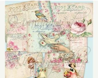 SALE RUSTIC POST Cards Collage Digital Images -printable download file Digital Collage Sheet Vintage Paper Scrapbook