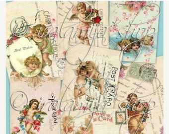SALE CHERUB POSTCARDS Collage Digital Images -printable download  file-