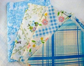 Vintage pillowcases - set of 4 - calming blues