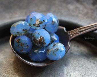 CORNFLOWER .. NEW 10 Picasso Czech Blue Glass Beads 6x9mm (B124-10)