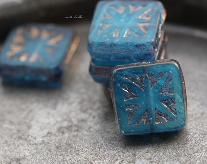 OCEANIC SQUARES .. 6 Picasso Czech Square Glass Beads 10mm (5517-6)