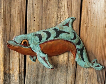 Dolphin Spirit - copper metal sea porpoise tribal art sculpture - Pacific Northwest Coast Indian inspired - turquoise blue patina - OOAK