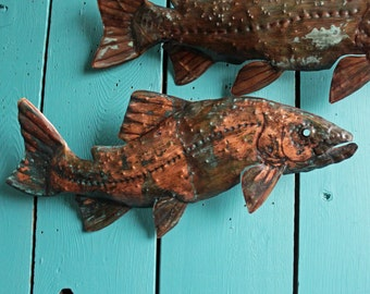 Cutthroat Trout - copper metal salmonid freshwater game fish art sculpture - wall hanging - turquoise-blue and salmon-pink patinas - OOAK