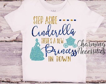 Princess  Cinderella Glitter Shirt, Baby Toddler Girl  Clothes, Coming Home, Baby Shower Gift, Inspired, Charming Necessities