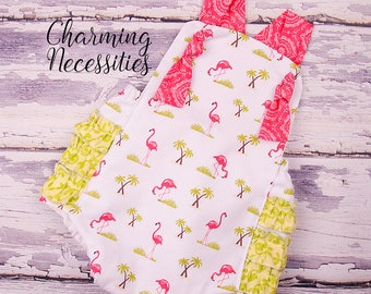 Baby Girl Clothes, Toddler Girl Clothes, Sunsuit Bubble Romper Spring Summer Flamingo Island by Charming Necessities