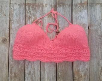 Crochet Bikini Top Bralette Summer Top Bikini Top Coral Crochet Halter Top Bohemian Top Gypsy Top Beachwear Music Festival MADE TO ORDER