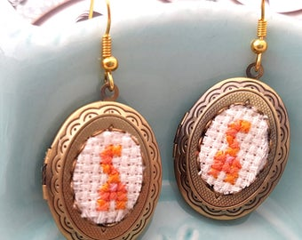 Orange Cat Butt Locket Earrings- xstitch fiber art wearable art Gag Gift Cat Lady Funny Haha