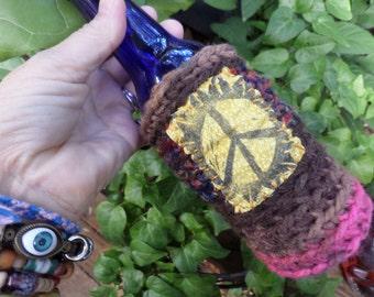 Hippie Festival, beer cooler, can cooler, bottle cooler, Beer cozy, Cheers, D30, Hippie peace, hippie crochet, boho beer, crochet beer
