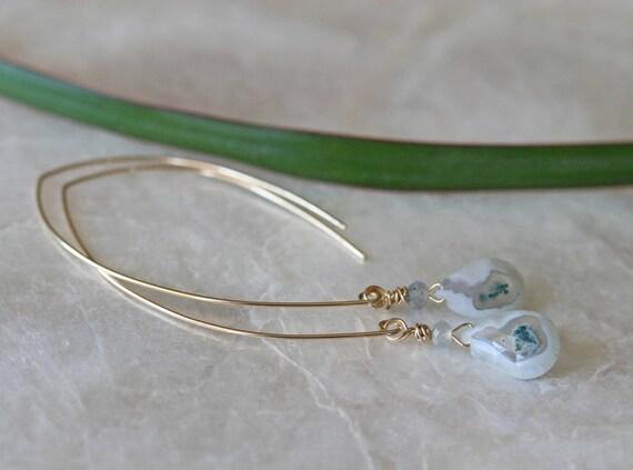 Solar Quartz Earrings, Dangle Earrings, Labradorite Earrings, Open Hoop Earrings, Gemstone Earrings, Green Stone Earrings, White Stone