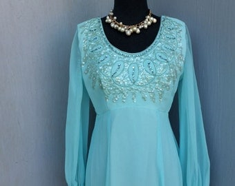 Vintage Gown, Chiffon Maxi Dress, Exquisite Beading w/Empire Waist, Bridesmaid, Prom, Evening gown