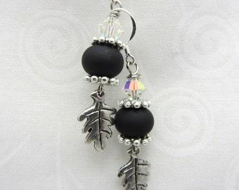Lampwork Earrings Black with Matte Black Glass Bead Earrings Dangle Drop Earrings with Leaf Charm SRAJD USA Handmade