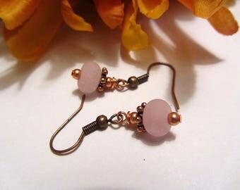 Lampwork Earrings Dainty Pink and Copper Earrings Matte Glass Bead Earrings Dangle Drop Earrings SRAJD USA Handmade