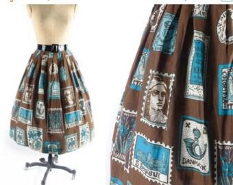 40% OFF SALE Vintage 50s Novelty Skirt // 1950s Novelty Skirt // POSTAGE Stamp Skirt // Brown Skirt // Full Skirt // Patterned Skirt - sz S