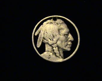 Indian Head Nickel - cut coin pendant / charm - Hobo Art Classic - 1923
