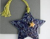 Porcelain and Gold Lustre Cobalt Blue Star