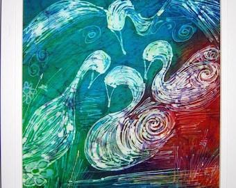 Framed Batik Silk Painting  The Children of Lir