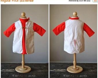 SPRING SALE 1960s Red Crest Knit Dress & Jacket~Size 12 Months