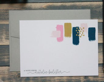 Painted Stationery Set in Pink, Gold and Navy | Stationary Gift | Natalie