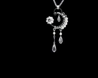 Swarovski Crystal Pendant, Bridal Necklace, Swarovski Pearls, Wedding Jewelry, Swarovski Necklace, Crystal Necklace, Wire Wrapped, Dione v4