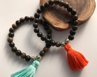 dark Mala wood yoga bracelet  mala bracelet, stretch bracelet with tassel, customizable bracelet, yoga jewelry, tassel bracelet,