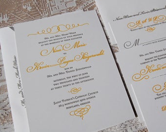 Letterpress Wedding Invitation Sample, Wedding Invitation, Invitation Suite, Classic Wedding Invitation, Calligraphic Wedding Invitation