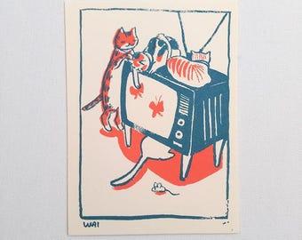 Cats on TV - postcard print