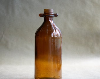 Unique Brown Glass Bottle with Knob Like Brown Peg Tabs at Threaded Neck, Marked G in a Circle 12, Amber Color by Gulfport Rare