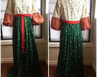 Vintage 70's Malia of Honolulu Maxi Dress. Prairie Dress. calico floral . Hawaiian.costume
