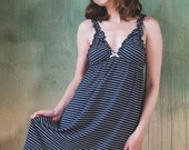 Navy striped Bamboo Nightie + panty - Lingerie, underwear, nightgown, pyjama, plus size, organic, maternity, sexy, christmas, gift for her