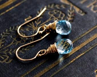 Sky Blue Topaz, Topaz Earrings, Dangle Earrings, Drop Earrings, Wire Wrapped, December Birthstone, Sky Blue, Birthstone Jewelry, PoleStar